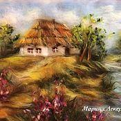 Картины и панно handmade. Livemaster - original item Painting wool lake House, price to 30.06!. Handmade.