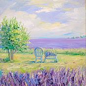 Картины и панно handmade. Livemaster - original item Oil painting on canvas with stretcher 30/40. Among the lavender fields. Handmade.