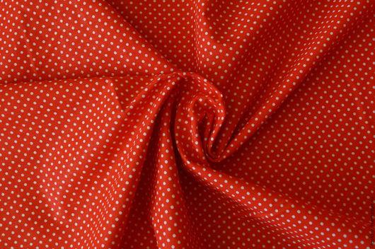 Шитье ручной работы. Ярмарка Мастеров - ручная работа. Купить Ткань красно-алая  в белый горох.3мм. Handmade. бязь