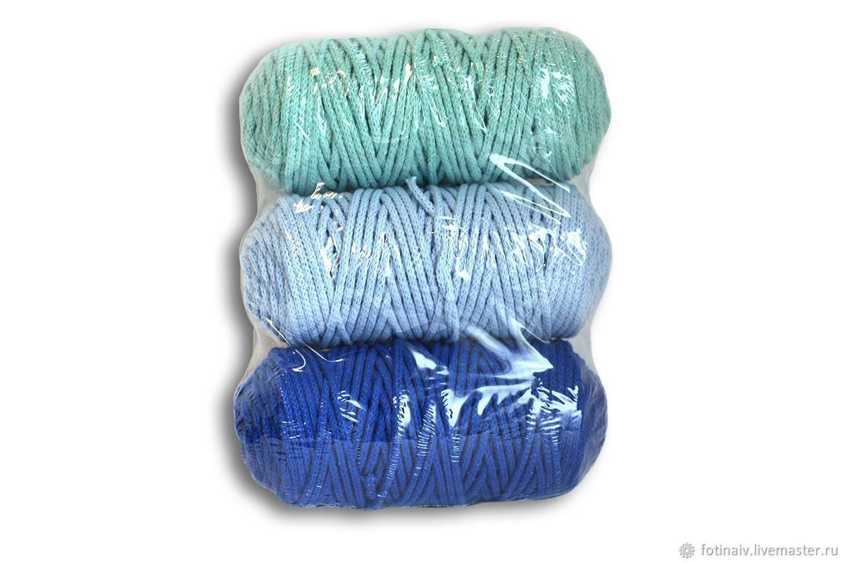 Набор шнуров хлопковых 3мм (синий+голубой+мятный), Пряжа, Петрозаводск,  Фото №1