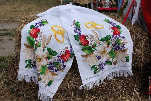 Свадебные аксессуары ручной работы. Ярмарка Мастеров - ручная работа. Купить Свадебный рушник, вышивка крестиком. Handmade. Комбинированный