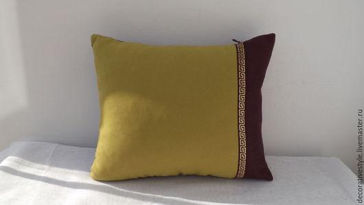 Текстиль, ковры ручной работы. Ярмарка Мастеров - ручная работа. Купить декоративная подушка. Handmade. Болотный, Подушка для дивана, для дома