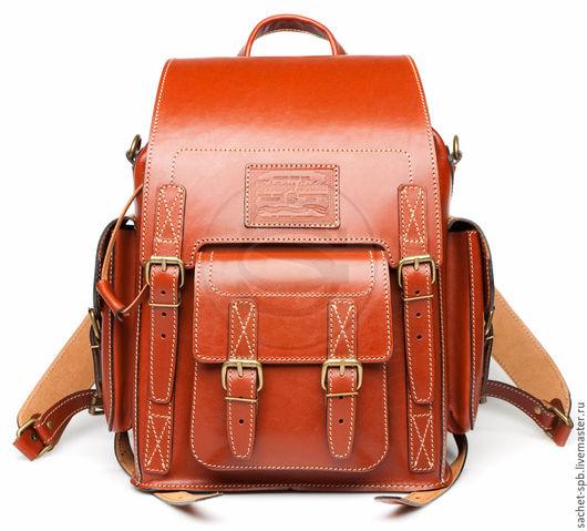 """Рюкзаки ручной работы. Ярмарка Мастеров - ручная работа. Купить Кожаный рюкзак """"Кэмэл"""" темно рыжий. Handmade. Кожаный рюкзак"""