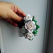 """Украшения ручной работы. Ярмарка Мастеров - ручная работа Гребень """"Белые розы""""!!!. Handmade."""