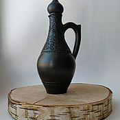 Посуда handmade. Livemaster - original item Decanter (damask) for wine. Black pottery.. Handmade.
