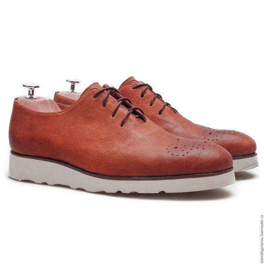 Обувь ручной работы. Ярмарка Мастеров - ручная работа. Купить Модель - Plains на подошве Vibram. Handmade. Коричневый, мужская обувь