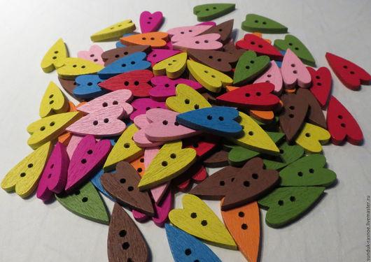 Другие виды рукоделия ручной работы. Ярмарка Мастеров - ручная работа. Купить Пуговки  цветные сердечки. Handmade. Пуговица