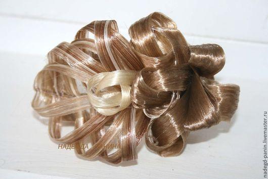 Заколки ручной работы. Ярмарка Мастеров - ручная работа. Купить Заколка  из искусственных волос, постиж №42. Handmade. Бежевый