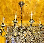 Большущая старинная бронзовая люстра на 10 рожков. Франция
