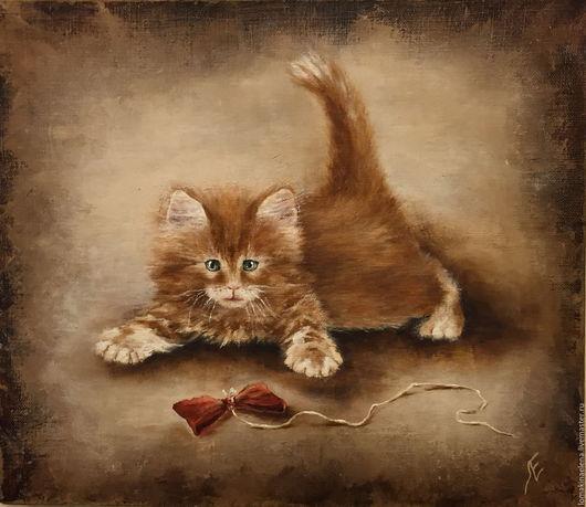 Животные ручной работы. Ярмарка Мастеров - ручная работа. Купить Картина Рыжее чудо. Handmade. Рыжий, картина маслом, масло