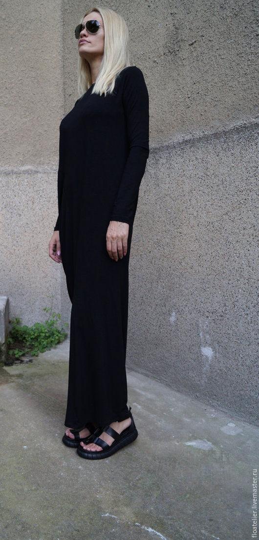 Платья ручной работы. Ярмарка Мастеров - ручная работа. Купить Длинное платье/Платье с длинным рукавом /F1590. Handmade. Черный, туника