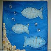 Картины и панно ручной работы. Ярмарка Мастеров - ручная работа панно Рыбки. Handmade.