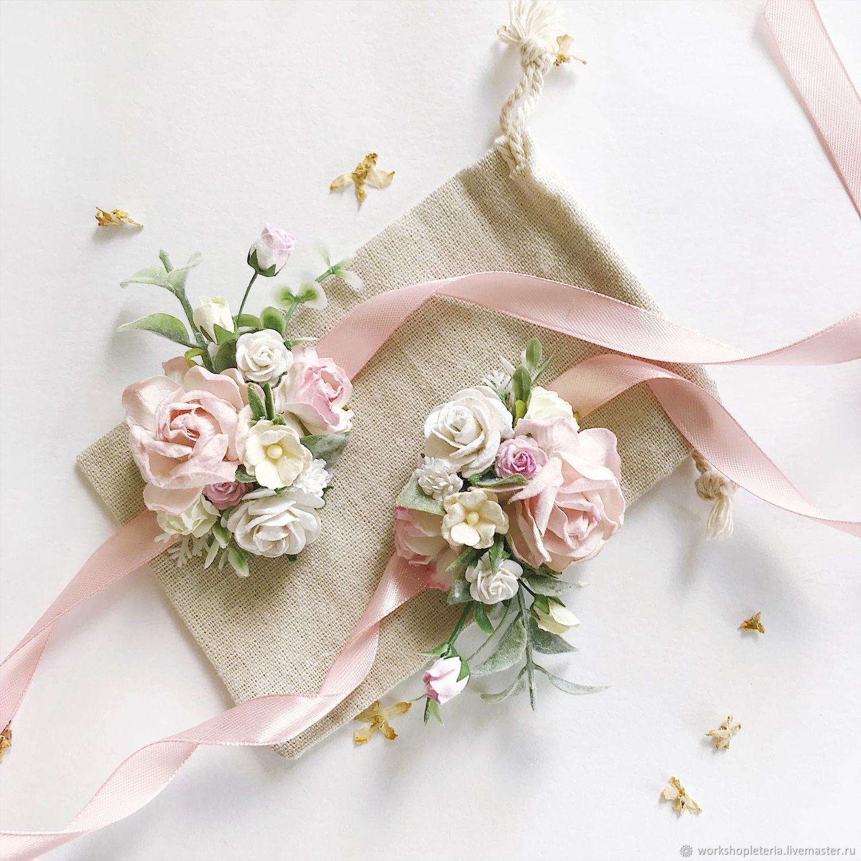 Цветочный браслет с нежно-розовыми и молочными цветами, Браслеты, Санкт-Петербург,  Фото №1