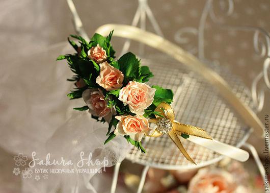 Диадемы, обручи, украшения для волос ручной работы. Свадебные украшения, для торжеств, повседневные. Ярмарка Мастеров - ручная работа. Купить венок для волос `Розы Прованса`. Handmade. Розовый.