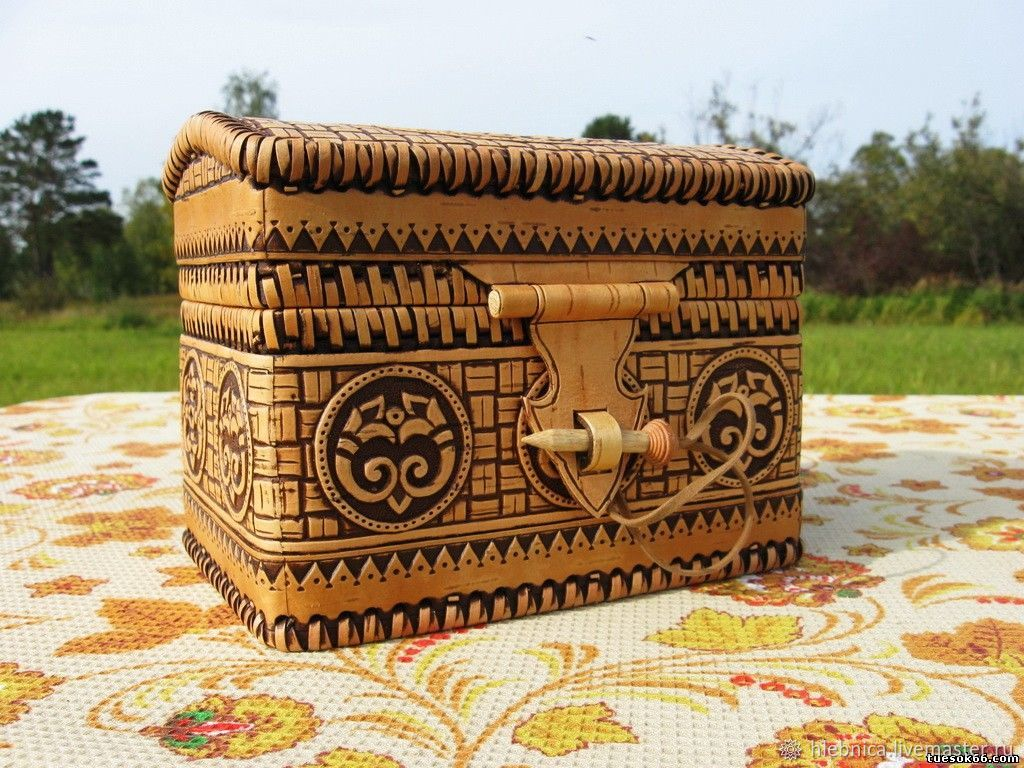 предлагают картинки сундук из бересты декоративная