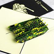 Сувениры и подарки handmade. Livemaster - original item T-72 tank - 3D handmade greeting card. Handmade.