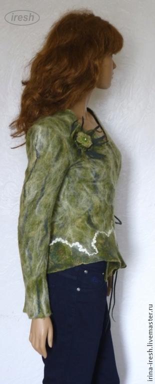 """Пиджаки, жакеты ручной работы. Ярмарка Мастеров - ручная работа. Купить Жакет валяный """"Зелёный микс"""". Handmade. Зеленый"""