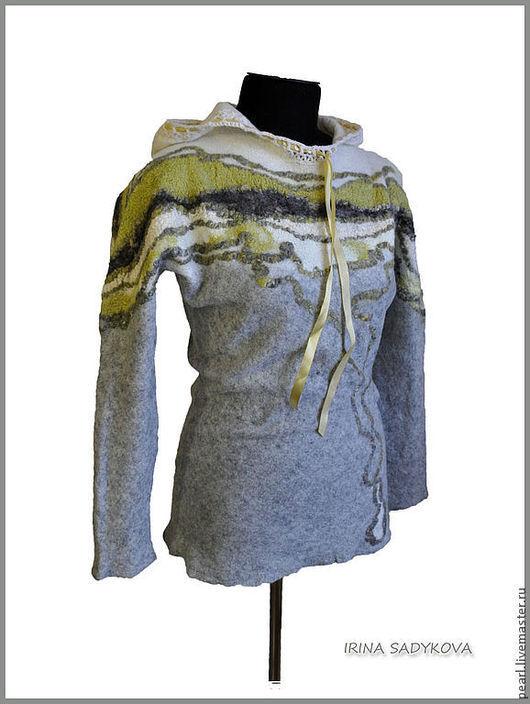 """Кофты и свитера ручной работы. Ярмарка Мастеров - ручная работа. Купить Свитер """"Исландия"""". Handmade. Абстрактный, белый, свитер валяный"""