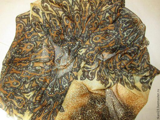 Шитье ручной работы. Ярмарка Мастеров - ручная работа. Купить Шелк натуральный шифон арт.12 ШК-1 (Корея) коричнево-желтый. Handmade.