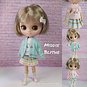 Куклы и игрушки handmade. Livemaster - original item Middie Blythe 20cm Cardigan, T-shirt, Skirt, Dress. Handmade.