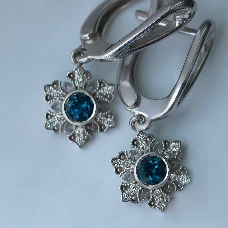 Snowflake earrings with London Topaz, Earrings, Moscow,  Фото №1