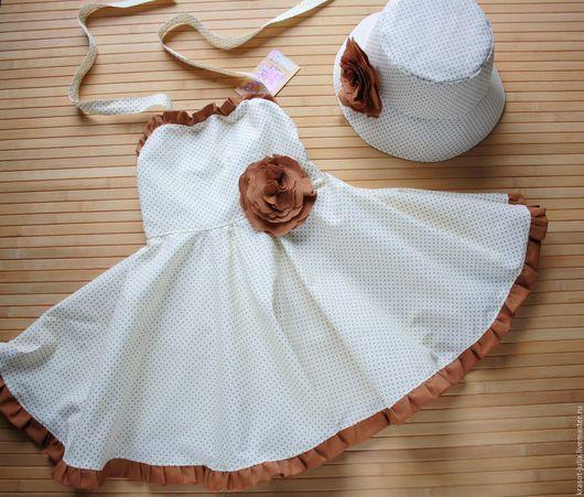 """Одежда для девочек, ручной работы. Ярмарка Мастеров - ручная работа. Купить Детское платье и панама """"Париж"""" для девочки, в горошек, лето. Handmade."""