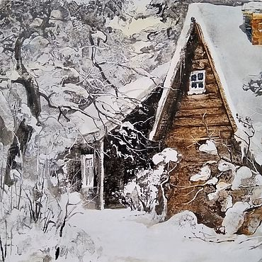 """Картины и панно ручной работы. Ярмарка Мастеров - ручная работа Картины: """"Зимовье"""" авторская графика, бумага, масло. Handmade."""