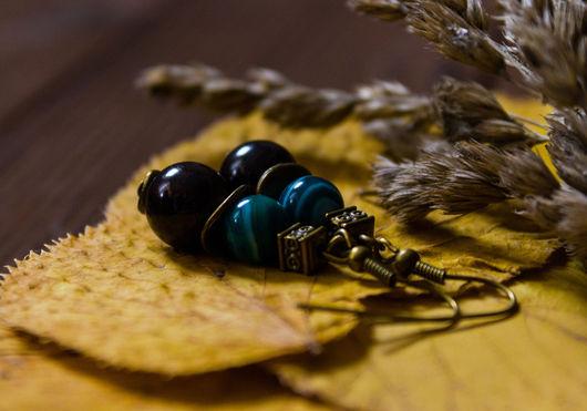 """Серьги ручной работы. Ярмарка Мастеров - ручная работа. Купить Серьги """"Осенний дождь"""". Handmade. Зеленый, серьги в подарок"""