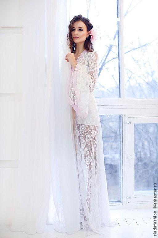 """Халаты ручной работы. Ярмарка Мастеров - ручная работа. Купить Платье-пеньюар """"Афродита"""". Handmade. Белый, кружевной халат"""