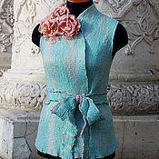 Одежда ручной работы. Ярмарка Мастеров - ручная работа Мятный валяный жилет Весна. Handmade.