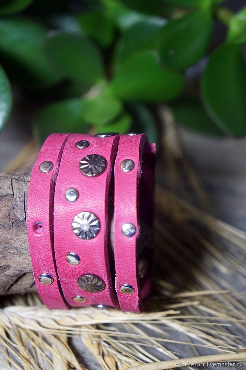 Wide leather bracelet 'fuchsia', Bead bracelet, Chelyabinsk,  Фото №1