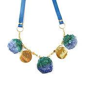 Украшения handmade. Livemaster - original item Leather necklace with quartz, blue necklace with natural stones. Handmade.