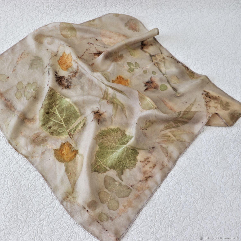 Платок шелковый, натурального крашения с экопринтом, Платки, Энгельс,  Фото №1