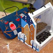 """Для дома и интерьера ручной работы. Ярмарка Мастеров - ручная работа Кормушка для птиц с дозировкой """"Зимняя"""" (набор для сборки с красками). Handmade."""
