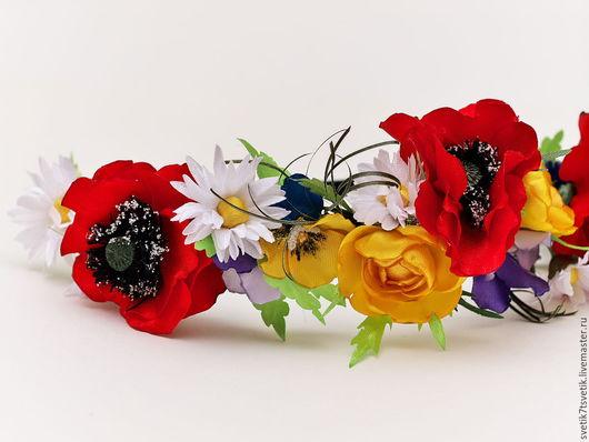 Диадемы, обручи ручной работы. Ярмарка Мастеров - ручная работа. Купить Греческая повязка с полевыми цветами. Handmade. Комбинированный, ромашки