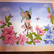 Дизайн и реклама ручной работы. Ярмарка Мастеров - ручная работа Роспись стен в детской комнате фея Винкс Флора. Handmade.