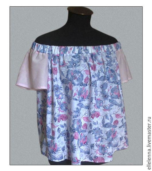 Топ-блуза свободного покроя из хлопка. Яркий цветочный принт, сочные цвета!