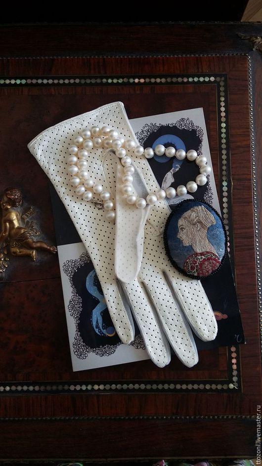 Варежки, митенки, перчатки ручной работы. Ярмарка Мастеров - ручная работа. Купить Белые лайковые перчатки. Франция, винтаж. Handmade.