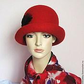 Аксессуары ручной работы. Ярмарка Мастеров - ручная работа Шляпка насыщенного темно-красного цвета. Handmade.