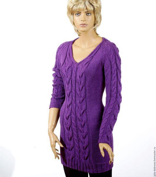 Платья ручной работы. Ярмарка Мастеров - ручная работа. Купить Платье вязаное косами аранами MAGIC NIGHT. Handmade. Фиолетовый