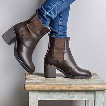 Обувь ручной работы. Ярмарка Мастеров - ручная работа Женские челси на каблуке с мехом. Handmade.