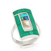 Украшения handmade. Livemaster - original item Ring with malachite and mother of pearl. Handmade. Handmade.
