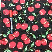 Материалы для творчества ручной работы. Ярмарка Мастеров - ручная работа ткань хлопок стрейч  вишни на черном. Handmade.