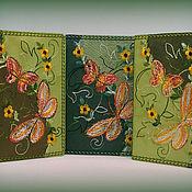 Канцелярские товары ручной работы. Ярмарка Мастеров - ручная работа Обложка для паспорта кожаная с вышивкой Бабочки. Handmade.
