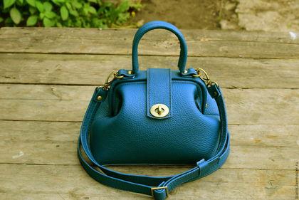 Женские сумки ручной работы. Ярмарка Мастеров - ручная работа. Купить Саквояж-Сине-Зелёный. Handmade. Синий, саквояж из кожи