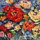 Painting on canvas oil painting RED ROSE BOUQUET. Pictures. pictures & decor of TanyaSeptember. My Livemaster. Фото №4