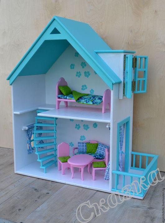 Кукольный дом ручной работы. Ярмарка Мастеров - ручная работа. Купить Кукольный домик. Handmade. Кукольный дом, кукла, бирюзовый