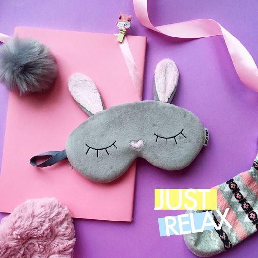 Персональные подарки ручной работы. Ярмарка Мастеров - ручная работа. Купить Маска для сна Bunny. Handmade. Маски для сна, фланель