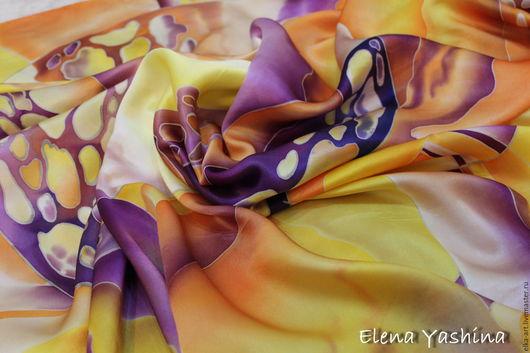"""Шали, палантины ручной работы. Ярмарка Мастеров - ручная работа. Купить Платок """"Вселенная"""". Handmade. Оранжевый, платок, Аксессуары handmade"""