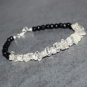 handmade. Livemaster - original item Silver 925pr. Herkimer Diamond and Black Tourmaline Bracelet. Handmade.